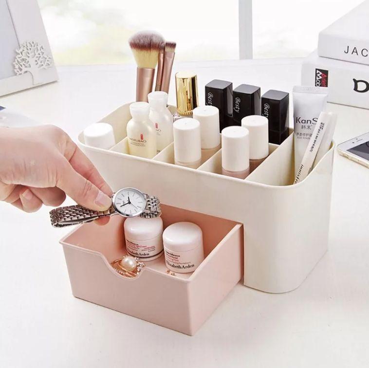 Органайзер для хранения косметики - Розовый/Белый