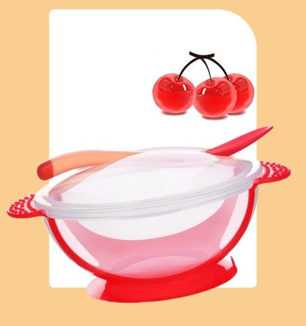 Тарелочка детская с ложкой и крышечкой на присоске Красная