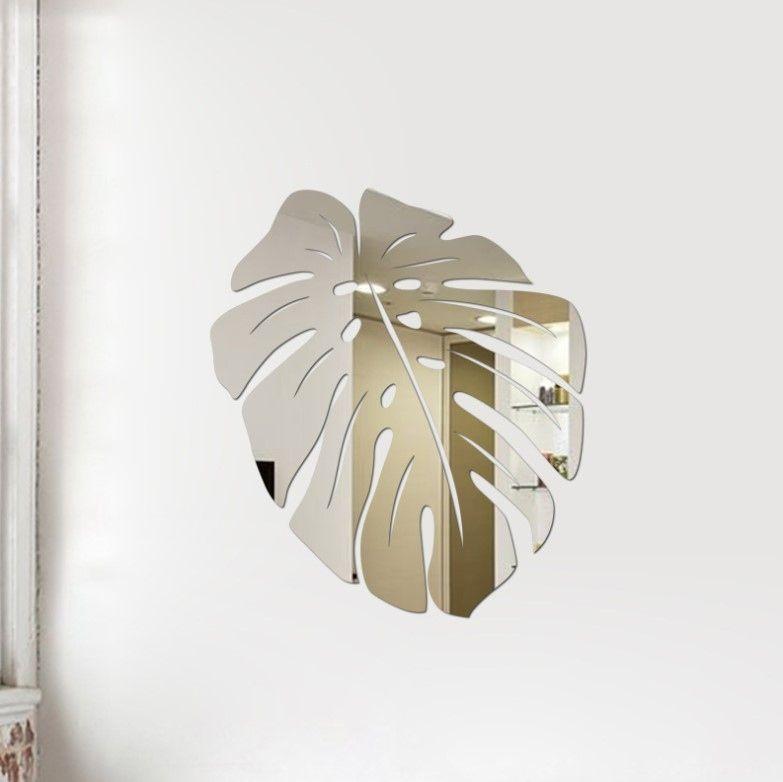"""Зеркальная наклейка """"Тропический лист"""" silver"""