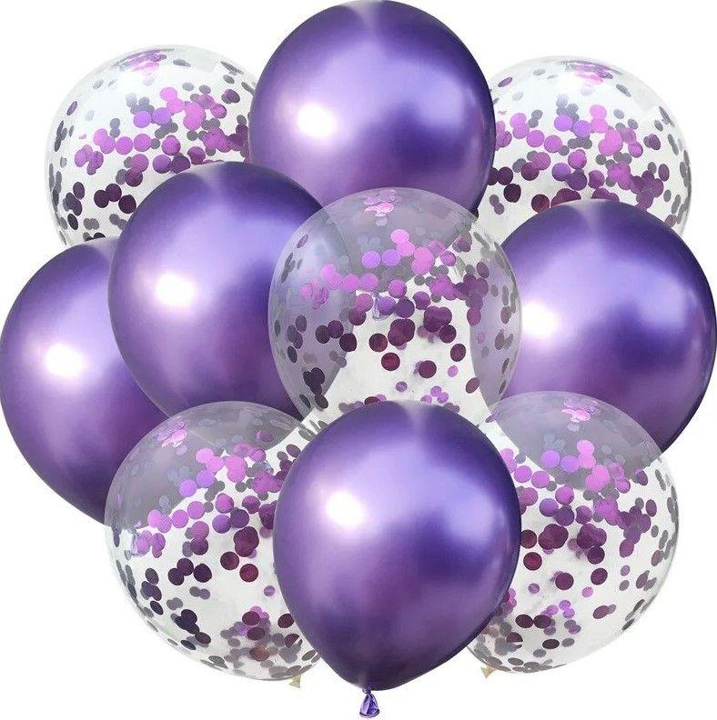 """Воздушные шары """"Конфетти"""" purple, 10 шт."""