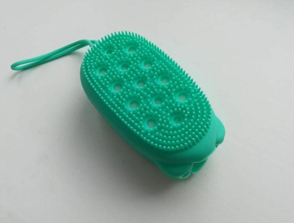 Губка-мочалка силиконовая/Щетка антицеллюлитная для массажа green