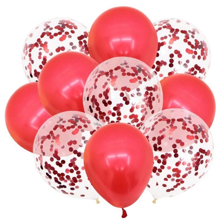"""Воздушные шары """"Конфетти"""" Red 10шт"""