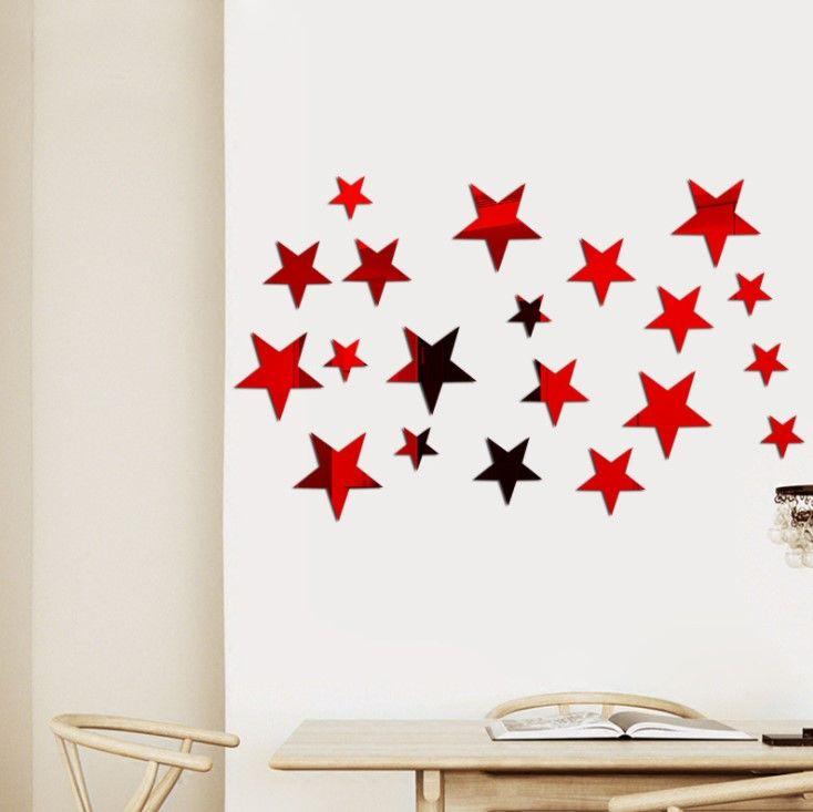 """Зеркальные наклейки """"Звездное небо"""" 5 см red"""