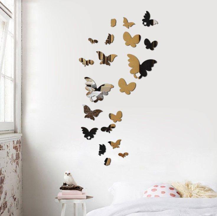 "Зеркальные наклейки ""Бабочки"", silver"