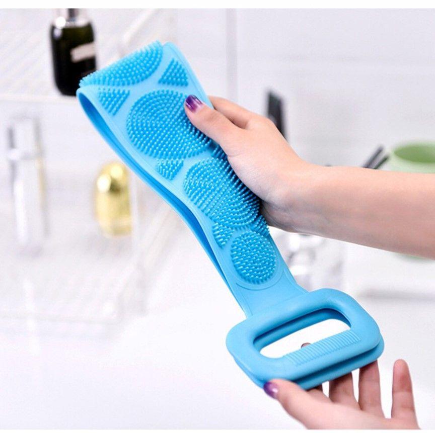 Силиконовая щетка для душа / Массажная щетка мочалка для тела blue
