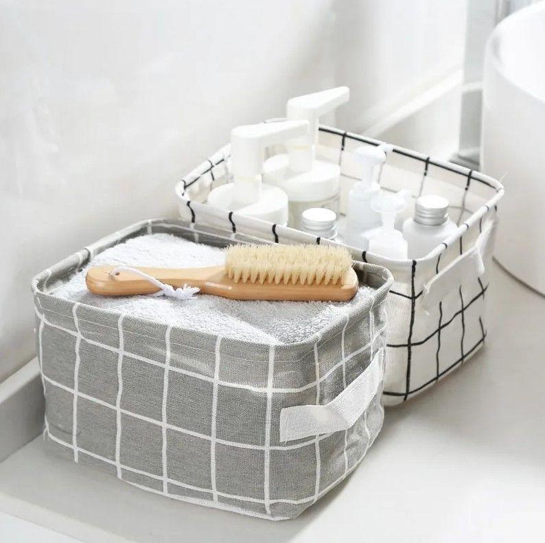 Корзина для хранения из хлопка и льна grey