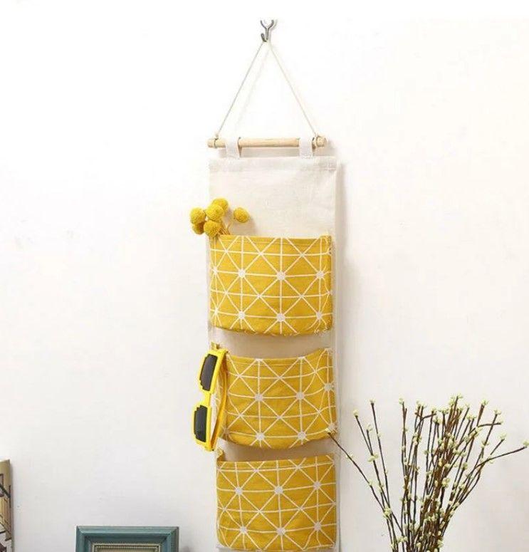 Подвесная сумка для хранения из хлопка и льна с принтом, 3 кармана yellow