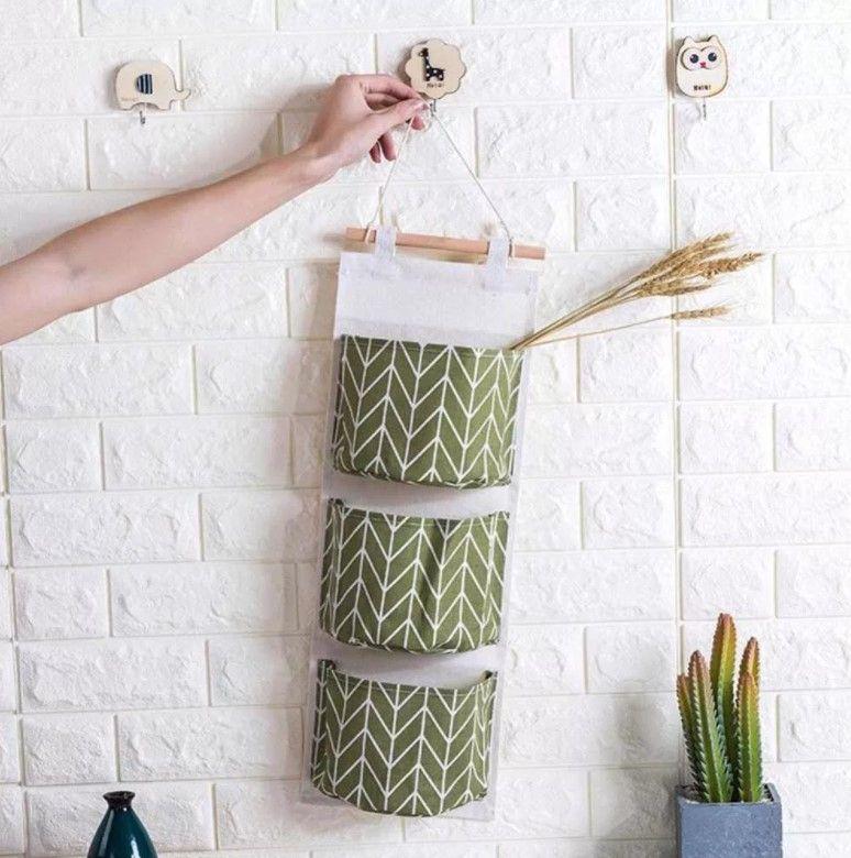 Подвесная сумка для хранения из хлопка и льна с принтом, 3 кармана  green